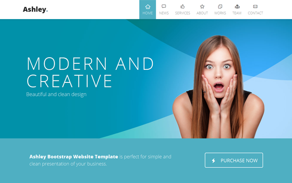 Ashley – One Page Parallax HTML5 & CSS