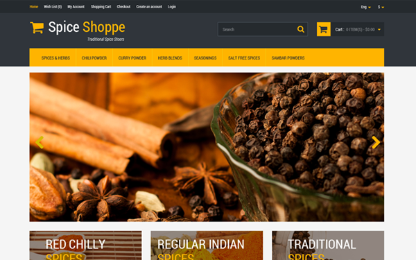 Spice Shoppe Bootstrap Shopping Cart
