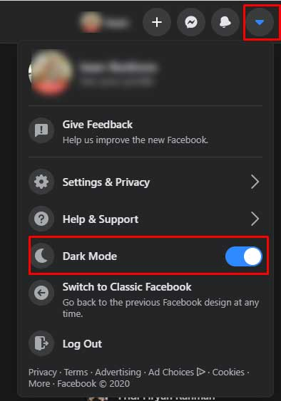 Facebook ganti dark mode